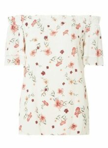 Womens Tall Ivory Floral Bardot Top - White, White
