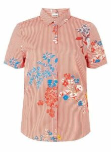 Womens **Noisy May Red Printed Shirt, Red