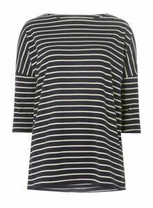 Womens **Vero Moda Navy 3/4 Striped Linen Blend Top- Blue, Blue