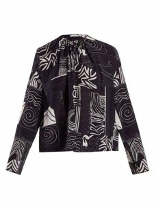 Balenciaga - Abstract-print Silk Blouse - Womens - Navy Print
