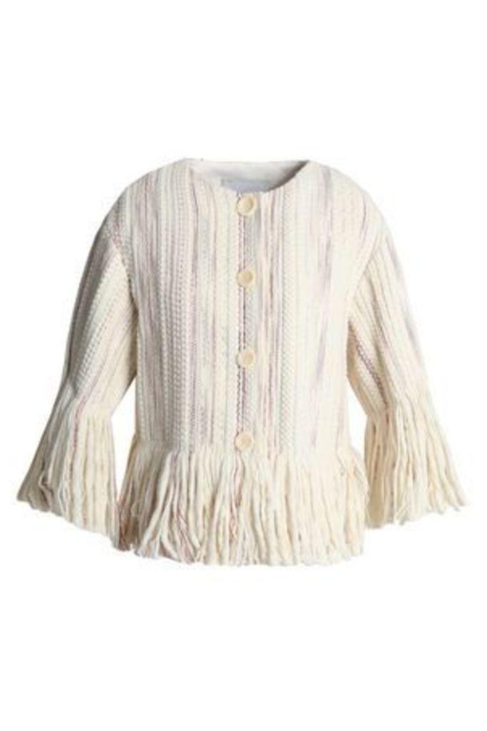Goen.j Woman Fringed Bouclé Jacket Cream Size L