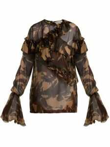 Preen By Thornton Bregazzi - Bella Camouflage Print Silk Chiffon Blouse - Womens - Multi