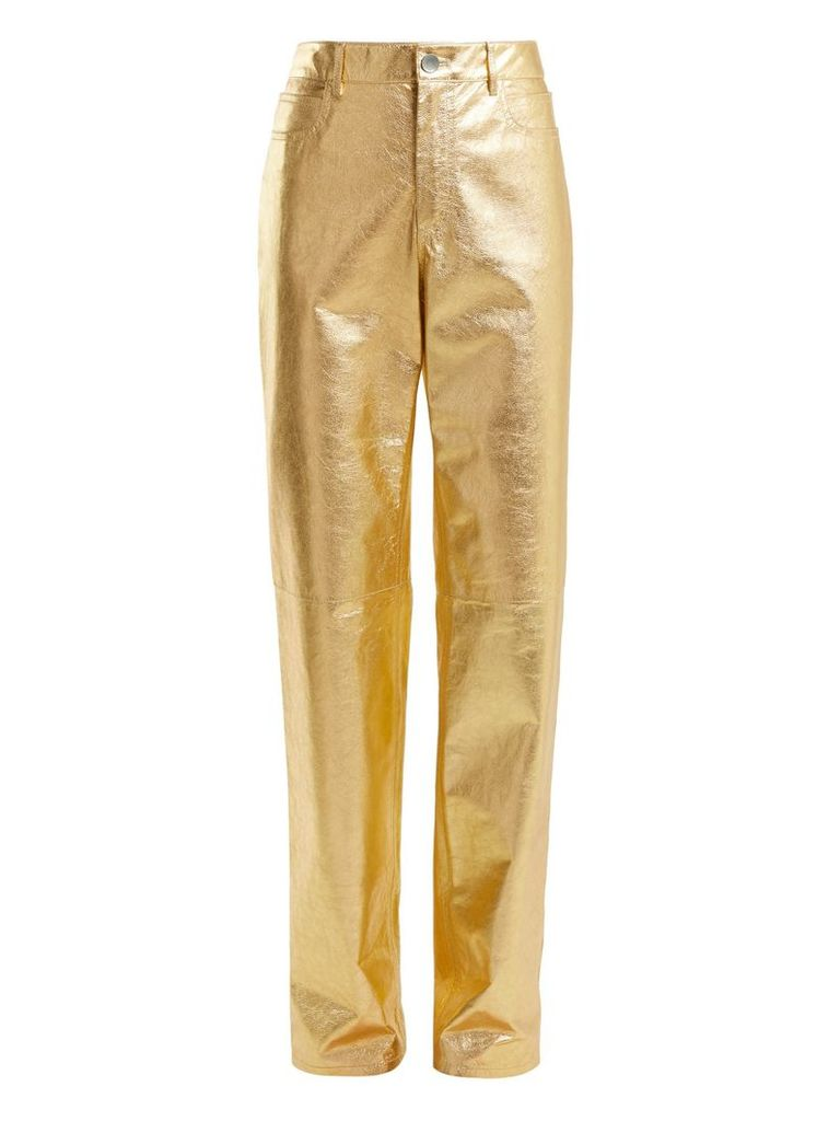 Straight-leg leather trousers