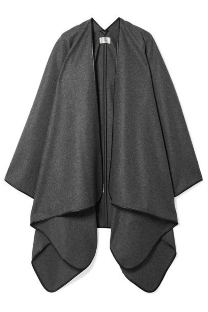 The Row - Shane Leather-trimmed Wool Cape - Dark gray
