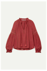 Veronica Beard - Kalina Lace-trimmed Cotton Blouse - Brick