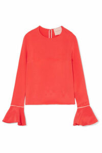 Roksanda - Saba Satin-trimmed Silk-crepe Blouse - Papaya