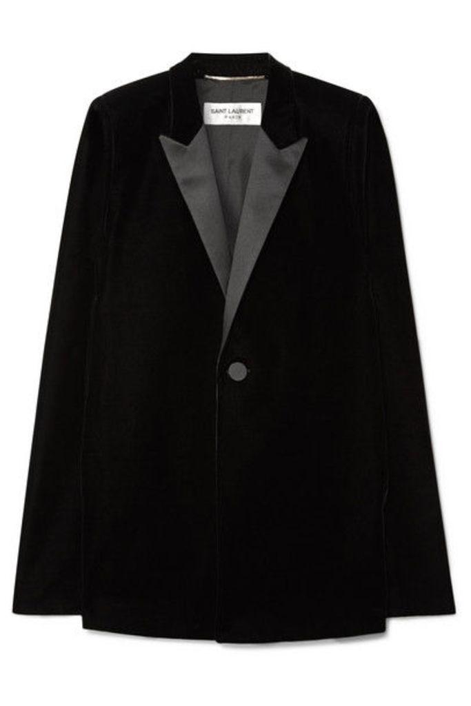 Saint Laurent - Satin-trimmed Velvet Cape - Black