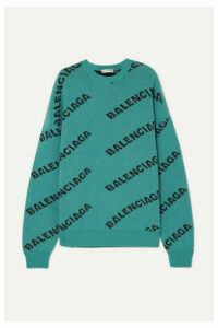 Balenciaga - Oversized Intarsia Wool-blend Sweater - Turquoise