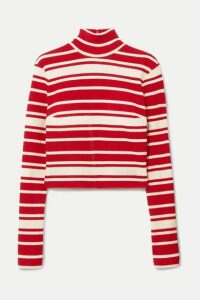 Prada - Striped Ribbed-knit Turtleneck Sweater - Red