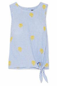 J.Crew - Embroidered Striped Cotton-poplin Top - Blue