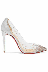 Christian Louboutin - Degrastrass 100 Crystal-embellished Pvc And Metallic Cracked-leather Pumps - Silver
