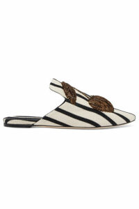 Sanayi 313 - Embroidered Striped Canvas Slippers - White