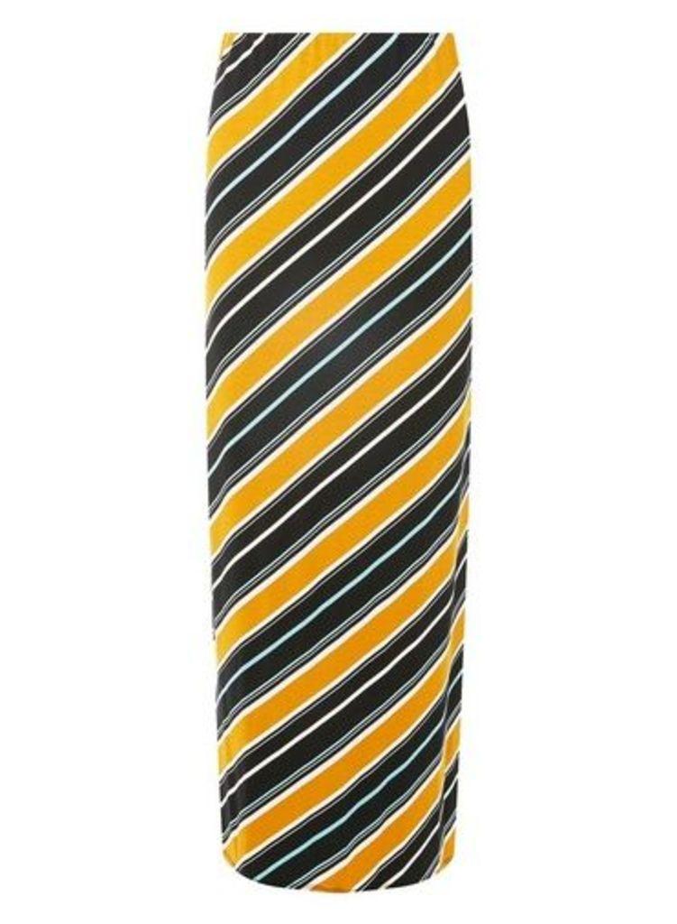 Womens Ochre Diagonal Striped Maxi Skirt- Yellow, Yellow