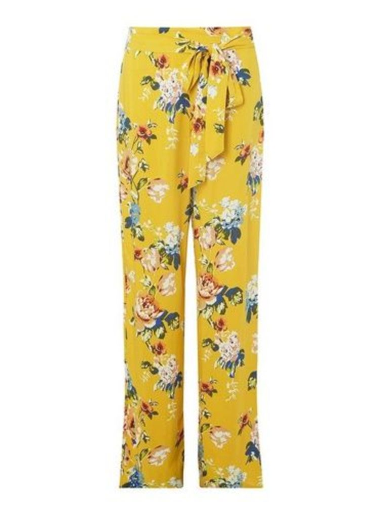 Womens **Tall Ochre Floral Print Palazzo Trousers- Orange, Orange