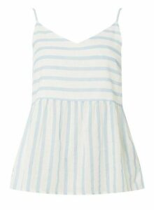 Womens **Vero Moda Blue And White Striped Floaty Blouse With Linen- Multi Colour, Multi Colour