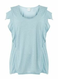 Womens **Juna Rose Curve Pale Blue T-Shirt With Linen, Blue
