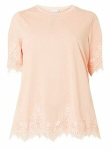 Womens **Juna Rose Curve Blush Lace T-Shirt, Blush