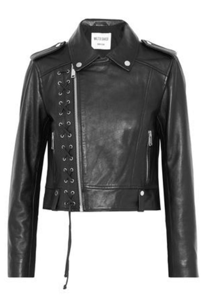 W118 By Walter Baker Woman Annarae Lace-up Leather Biker Jacket Black Size L