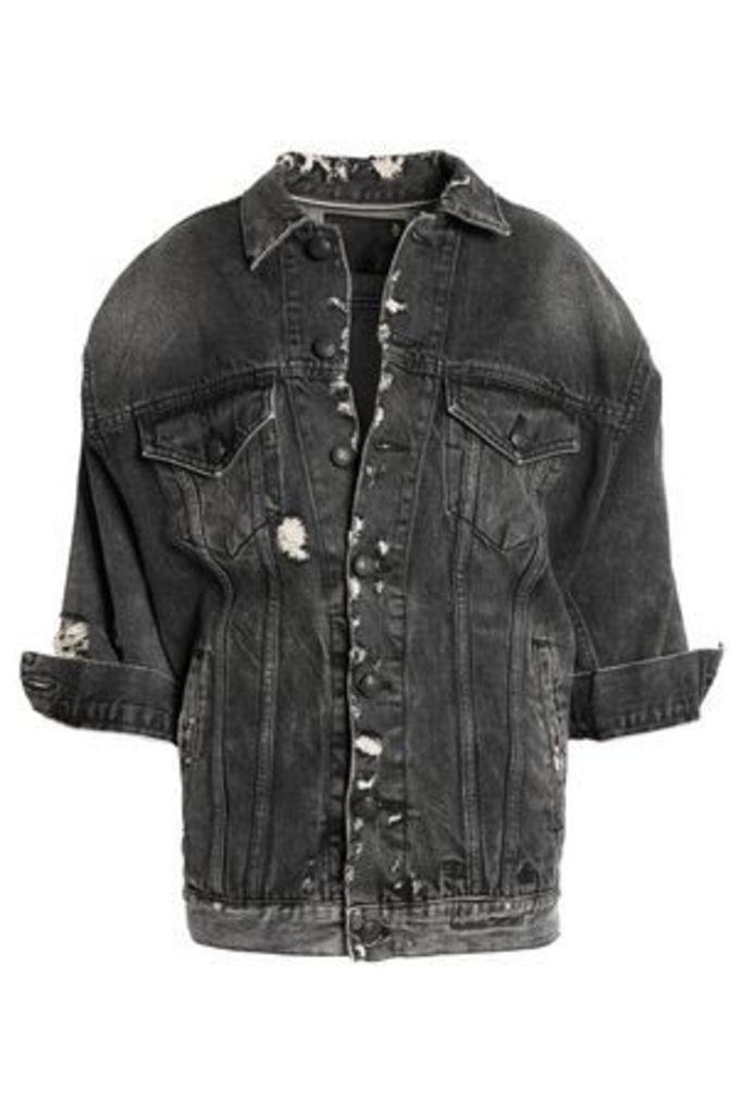 R13 Woman Oversized Trucker Distressed Denim Jacket Black Size M