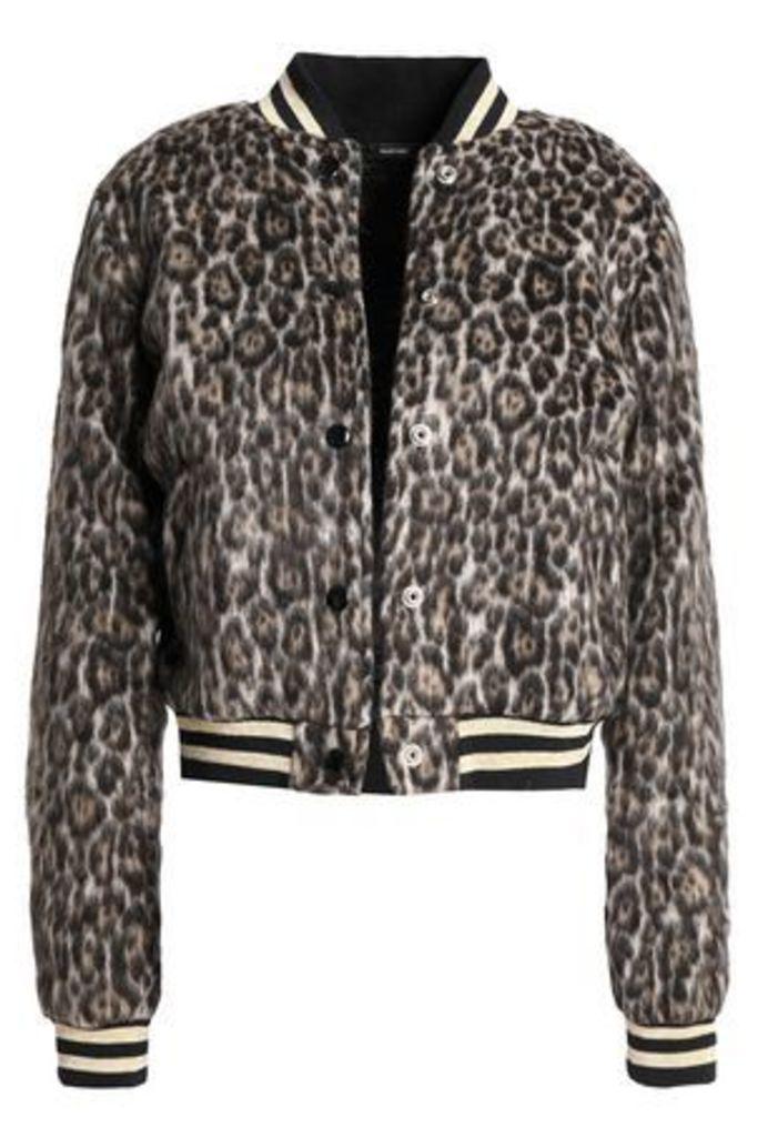 R13 Woman Leopard-print Brushed-felt Bomber Bomber Jacket Animal Print Size S