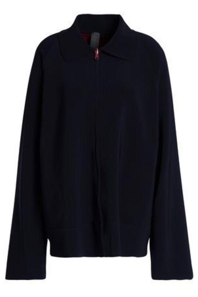 Norma Kamali Woman Reversible Stretch-jersey Jacket Midnight Blue Size XS