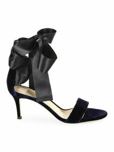 Velvet Satin Bow Sandals