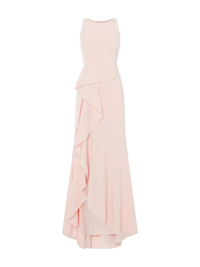 Adrianna Papell Sleeveless hi low gown with ruffle detail, Pink