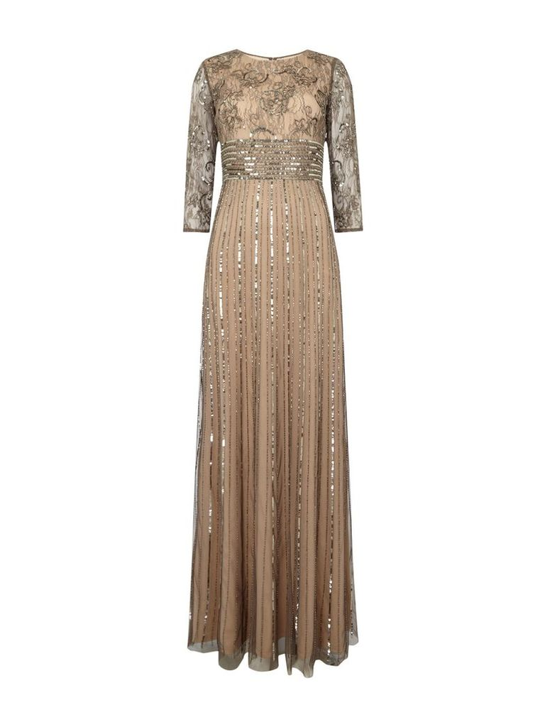 Adrianna Papell Long sleeve beaded gown, Nude