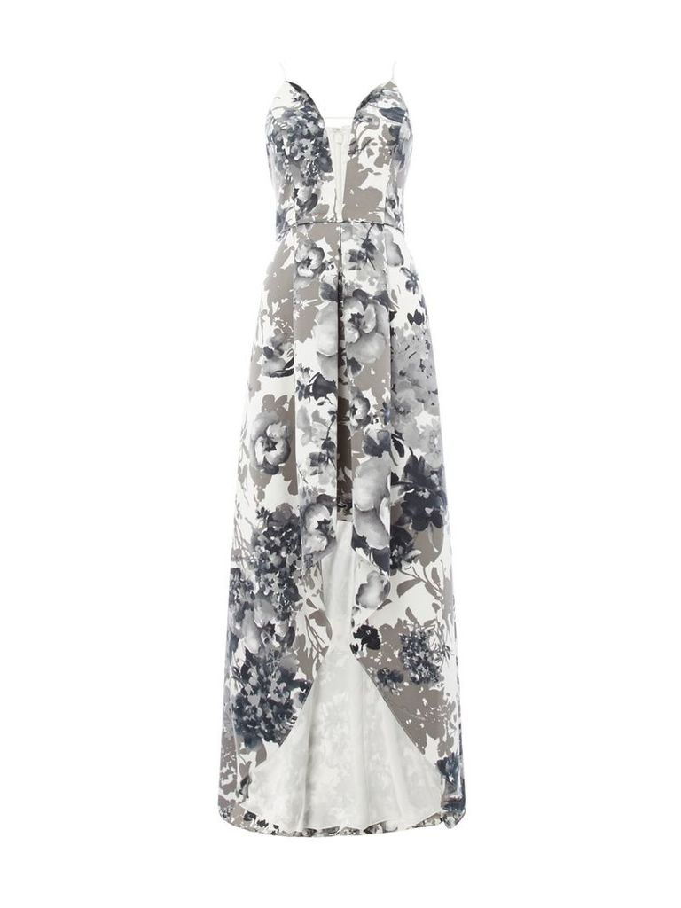 Adrianna Papell V neck printed gown with high low hem, Black & White