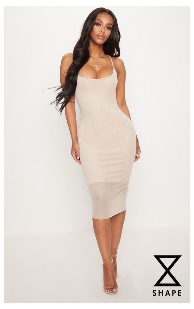 Shape Nude Mesh Strappy Midi Dress, Pink