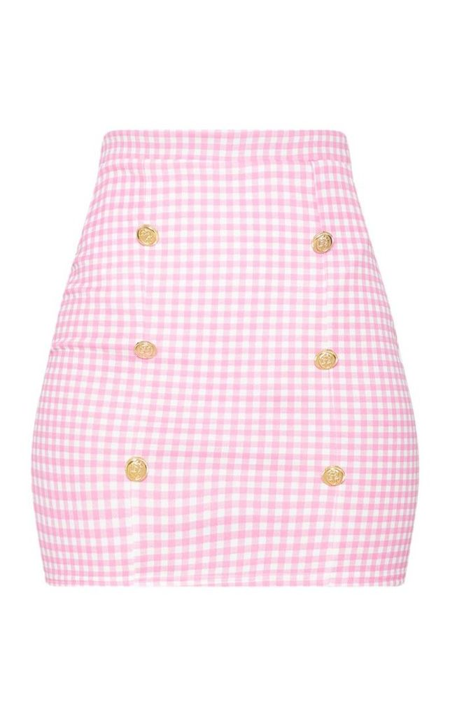 Pink Gingham Check Button Detail Mini Skirt, Pink