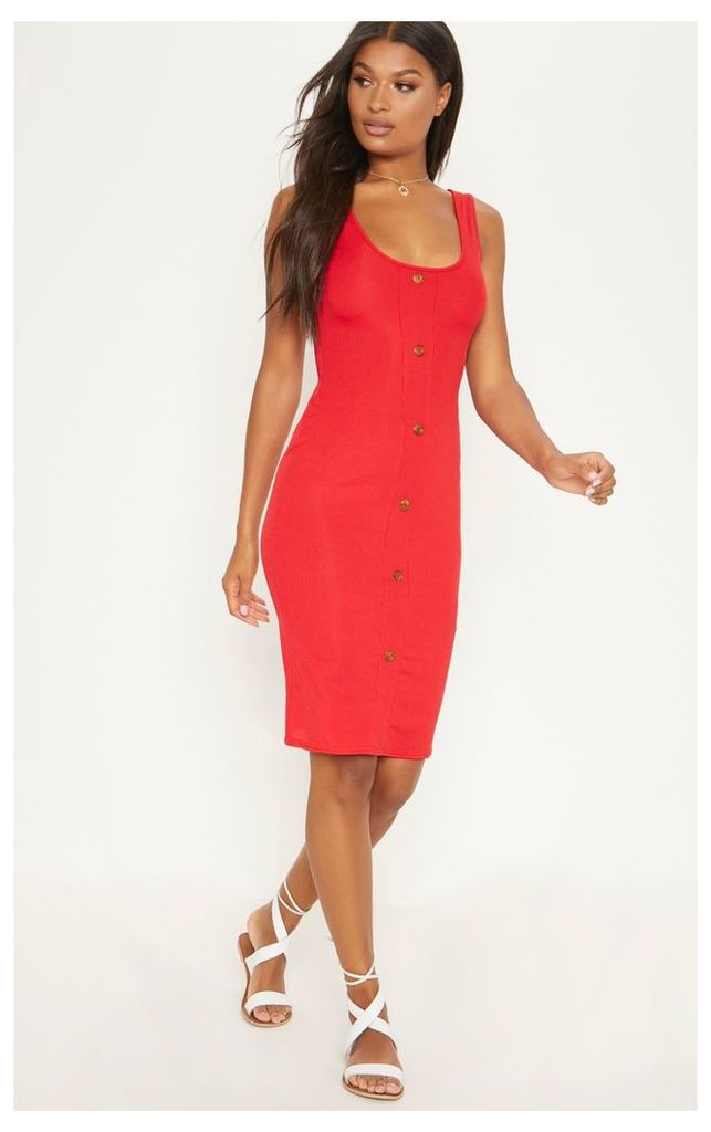 Red Ribbed Scoop Tortoise Shell Button Down Bodycon Dress, Red