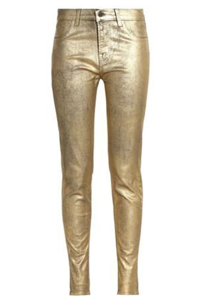 J Brand Woman 801 Metallic-coated Mid-rise Skinny Jeans Gold Size 31