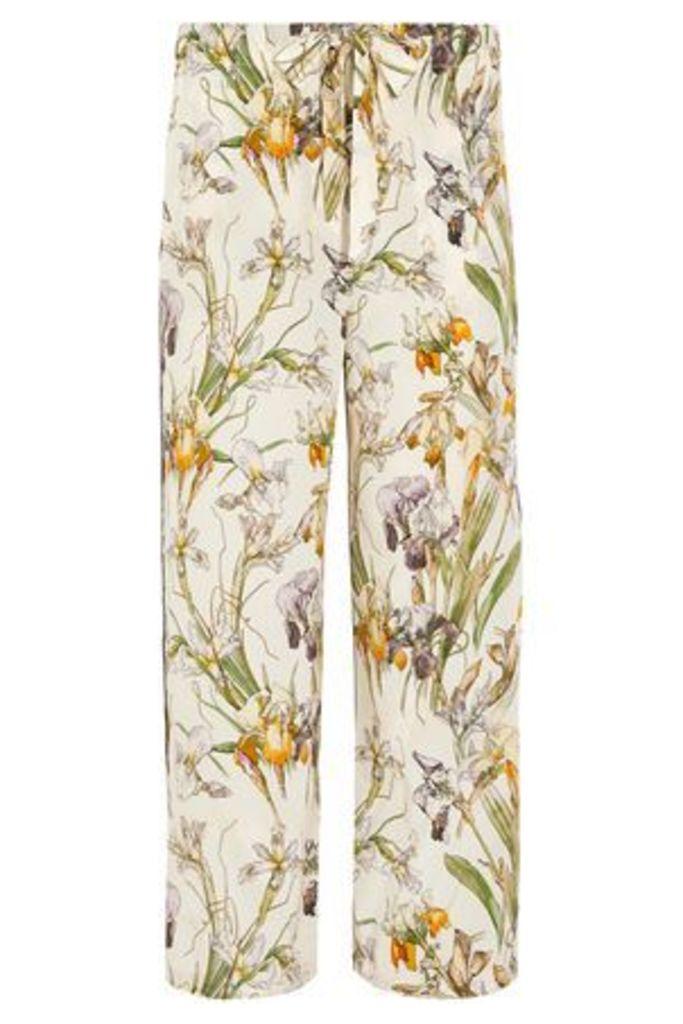 Alexander Mcqueen Woman Floral-print Silk Wide-leg Pants Cream Size 36