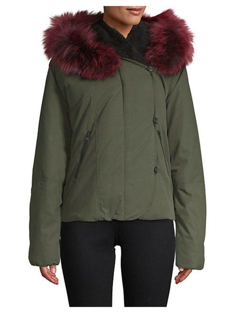 Fox Fur-Trimmed Zip-Front Jacket