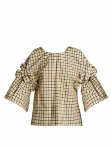 Fendi - Bow-embellished Check Top - Womens - Pink Multi