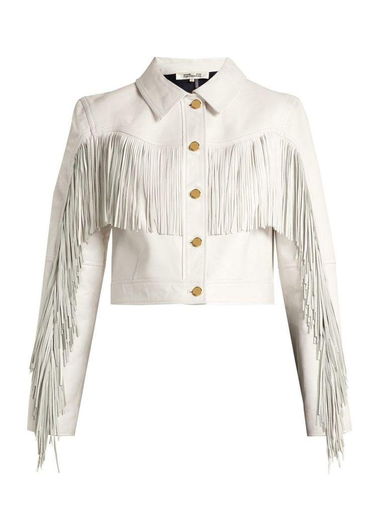 Diane Von Furstenberg - Cropped Fringed Leather Biker Jacket - Womens - White