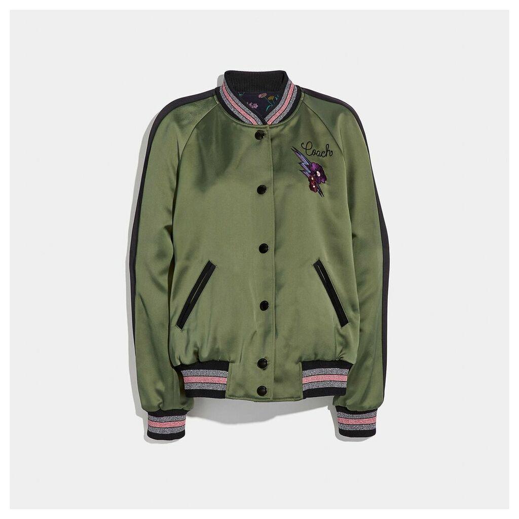 Coach Reversible Satin Varsity Jacket