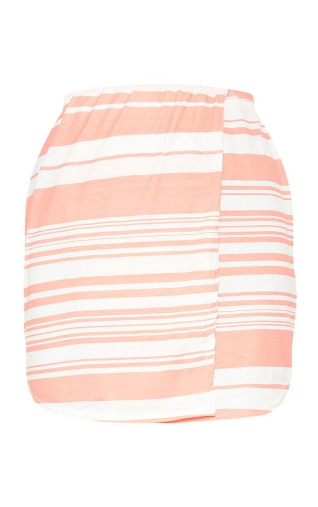 Pink Multi Stripe Wrap Front Mini Skirt, Pink