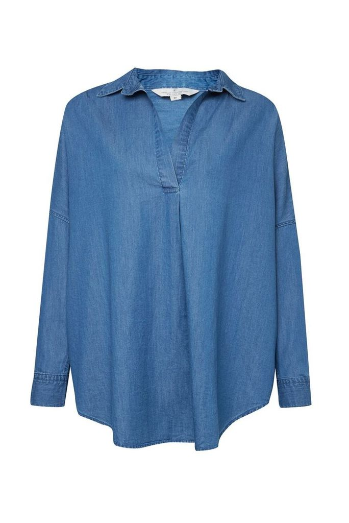 French Connection Tidore Chambray Popover Shirt, Blue