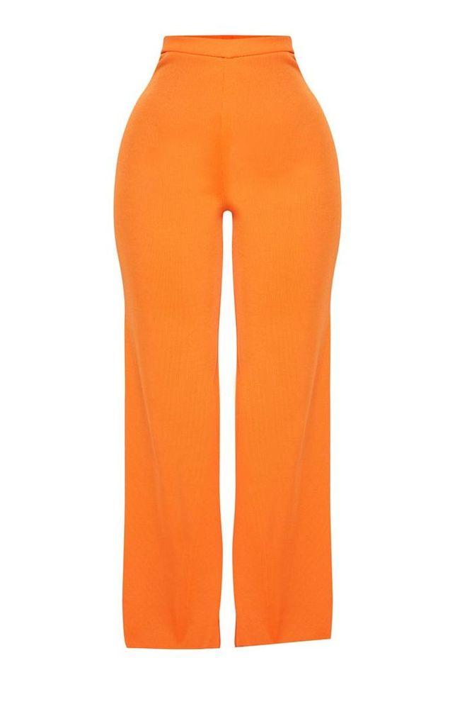 Shape Orange Ribbed Bandage Wide Leg Trousers, Orange