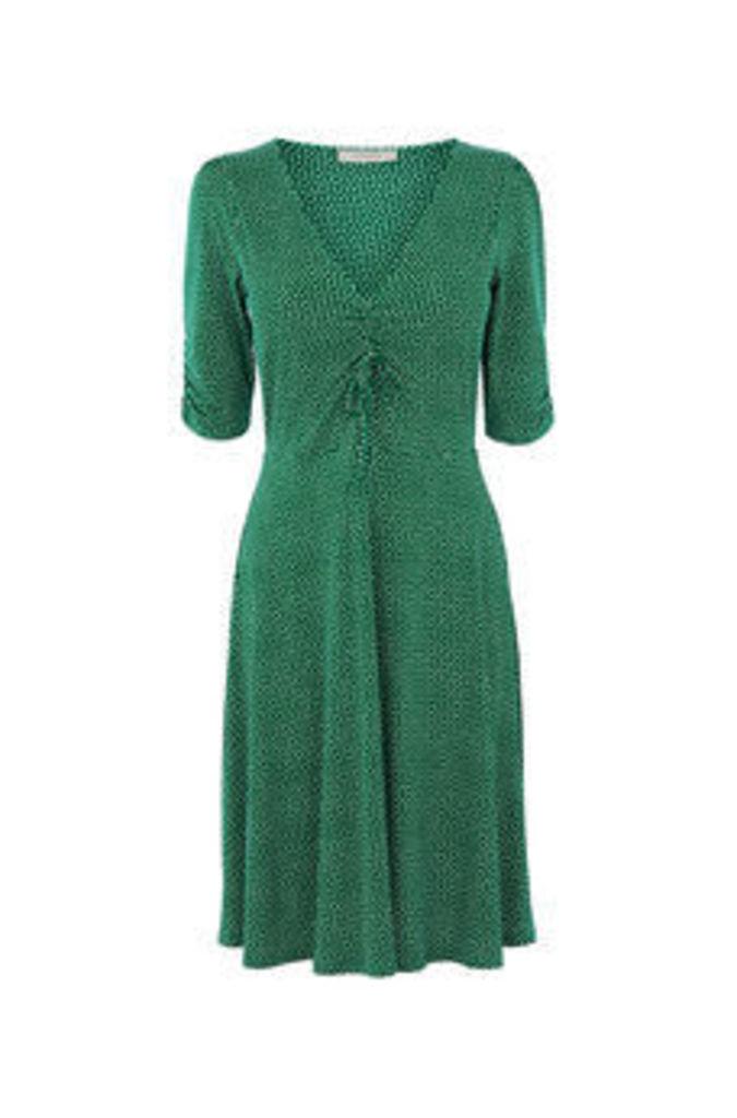 LONG SPOT RUCHED DRESS