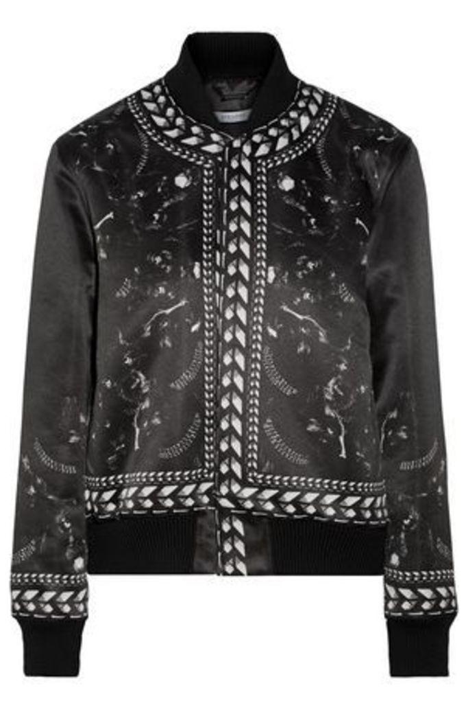 Givenchy Woman Printed Satin Bomber Jacket Black Size 42