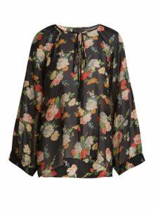 Nili Lotan - Acadia Floral Print Silk Blouse - Womens - Black Multi