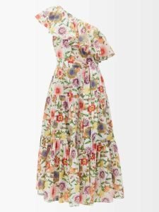Valentino - Leopard And Tiger-print Silk Blouse - Womens - Blue Print