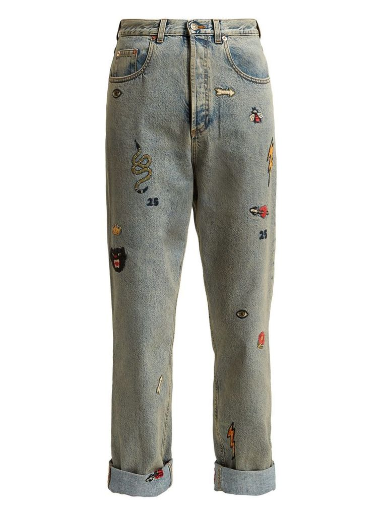 Embroidered high-rise jeans