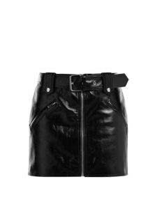 Valentino - Belted Leather Mini Skirt - Womens - Black