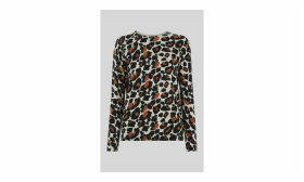 Leopard Print Crew Neck Knit
