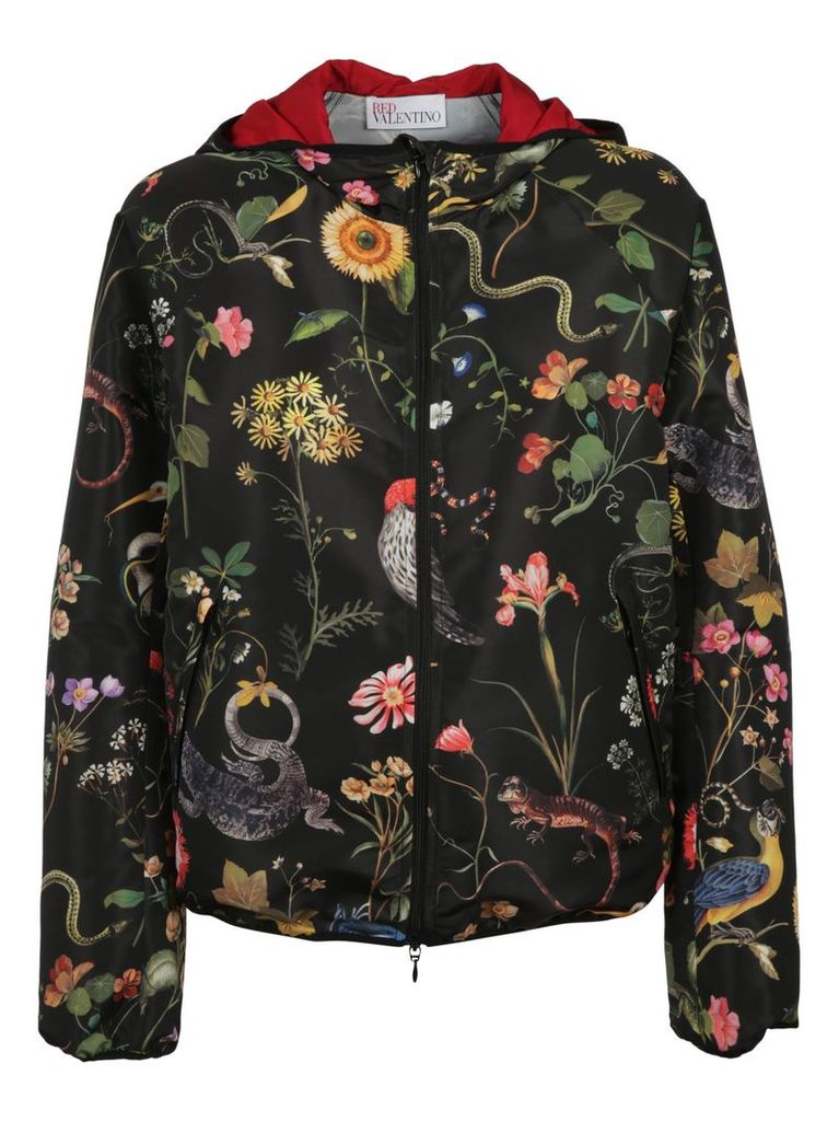 Red Valentino Birds Print Hooded Jacket