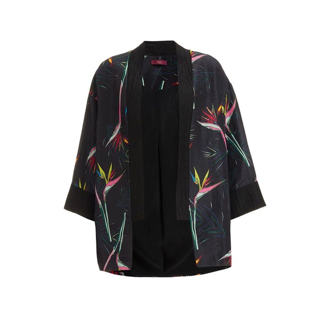 WtR - WtR Black Linen Tropical Print Kimono Jacket